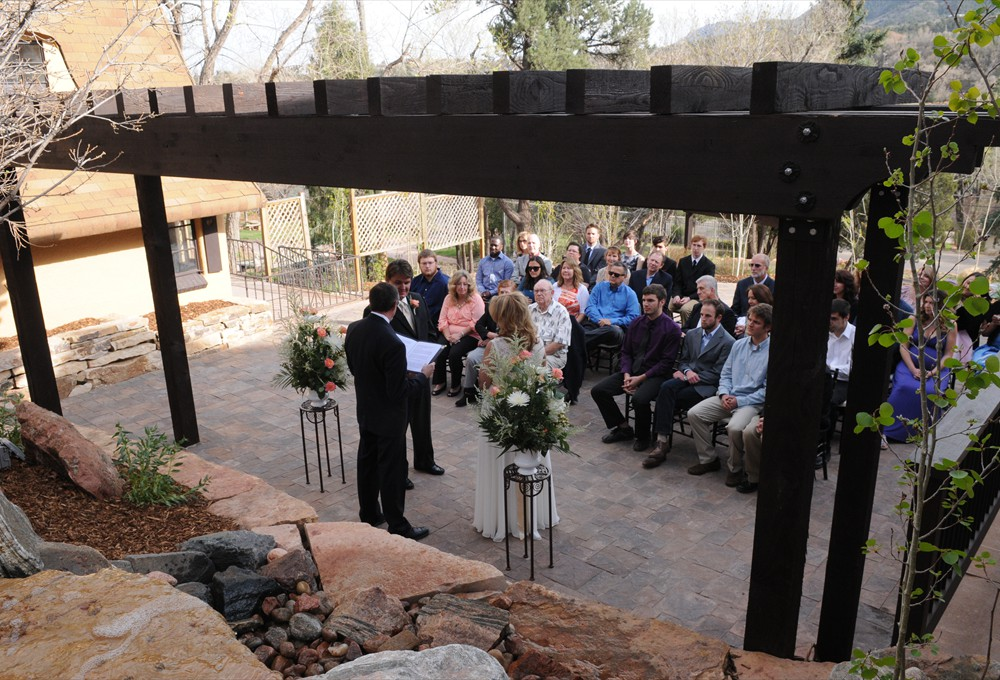 Ceremony looking from waterfall